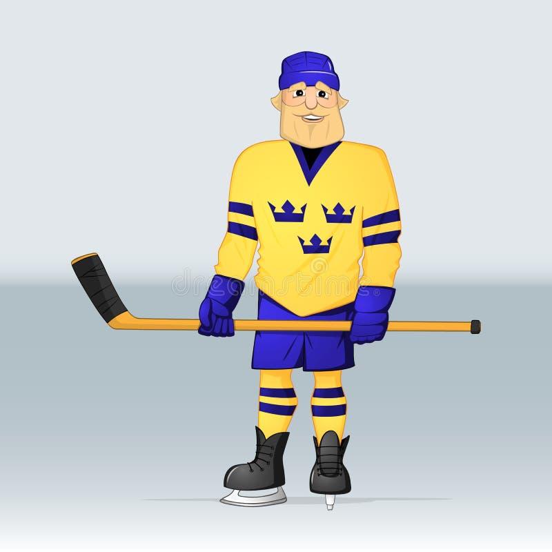 冰球队瑞典球员 向量例证