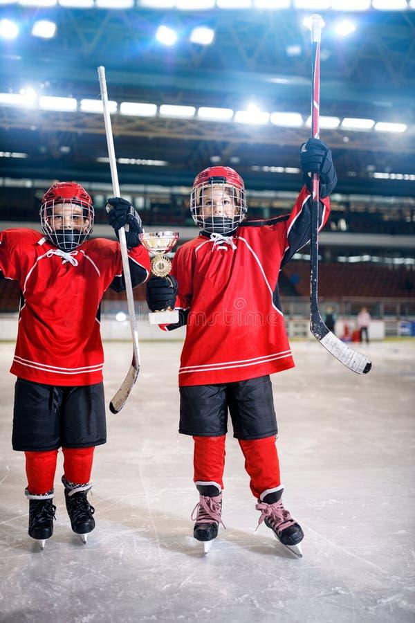 冰球-男孩优胜者战利品 库存图片