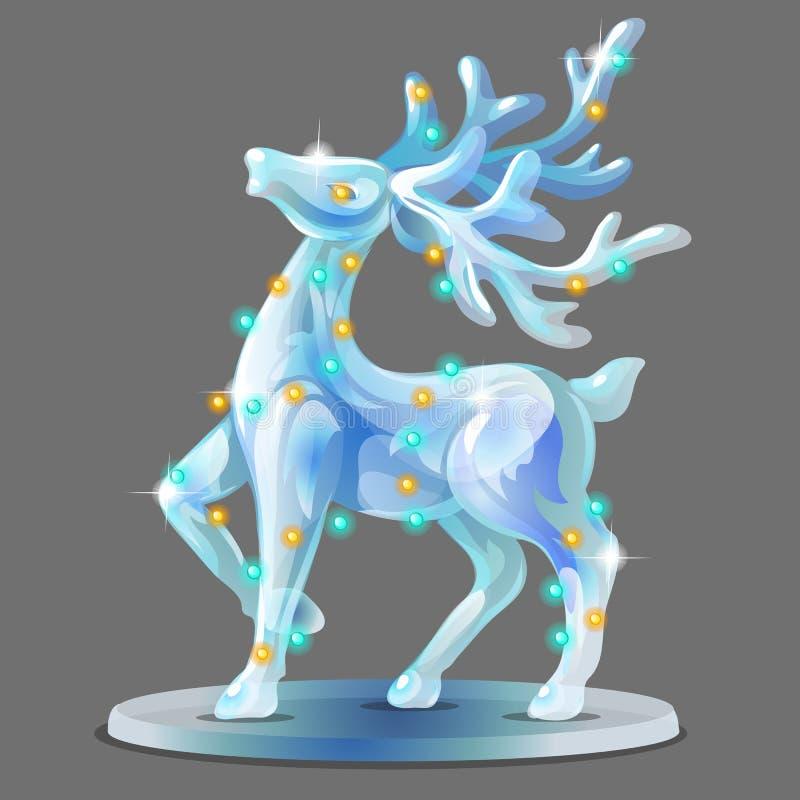 冰用发光的诗歌选装饰的鹿的小雕象形式隔绝在灰色背景 海报,党假日样品  向量例证