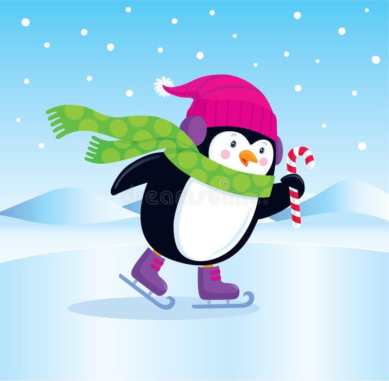 滑冰的企鹅 向量例证