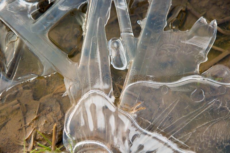 结冰的天然冰水晶背景 库存照片