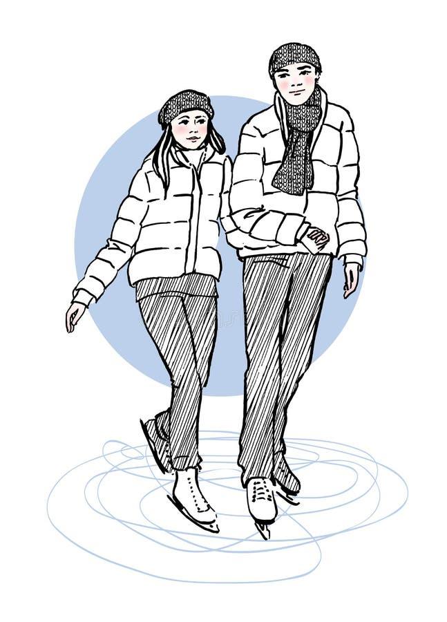 滑冰的夫妇剪影在滑冰场的 象查找的画笔活性炭被画的现有量例证以图例解释者做柔和的淡色彩对传统 向量例证