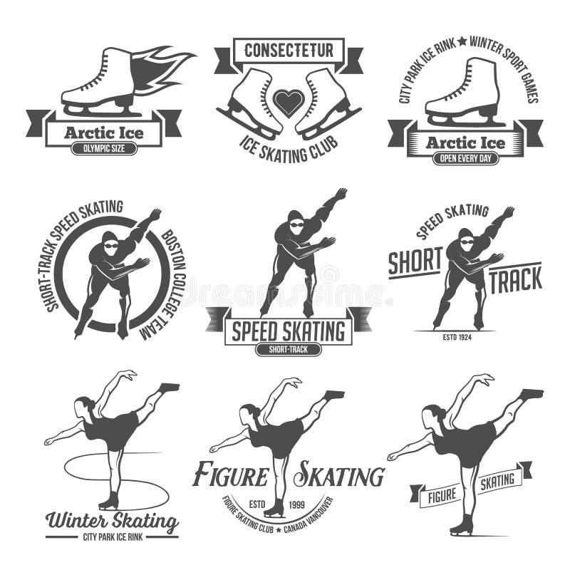 滑冰的标签商标集合 皇族释放例证