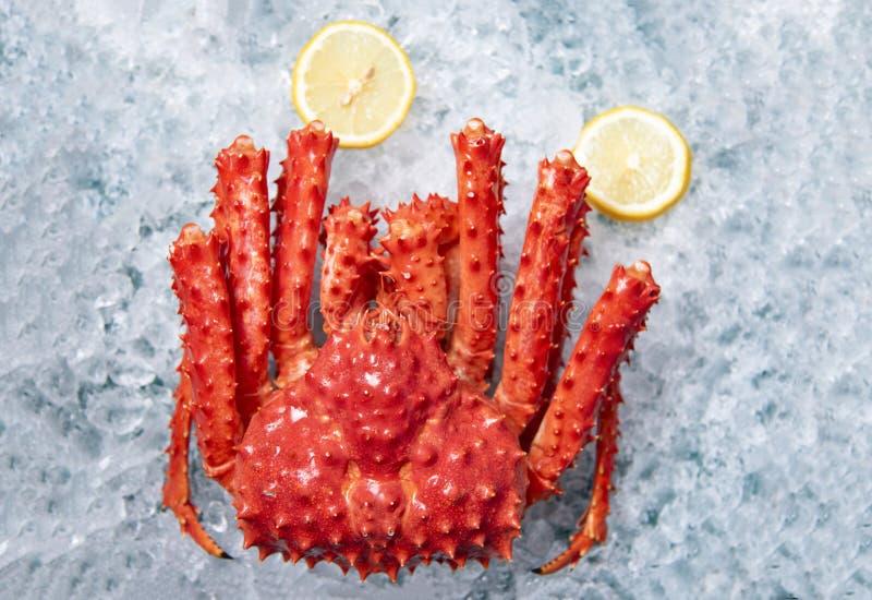冰的阿拉斯加的巨蟹有柠檬背景顶视图-红色螃蟹北海道在海鲜市场上 库存图片