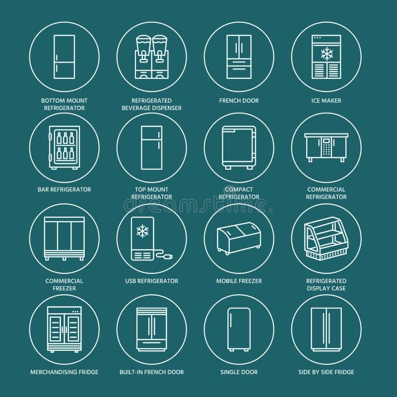 冰箱平的线象 冰箱键入,冷冻机,冷酒器,商业主要装置,被冷藏的陈列橱 皇族释放例证