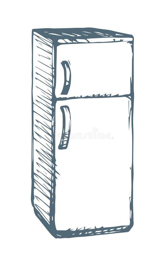 冰箱 得出花卉草向量的背景 库存例证