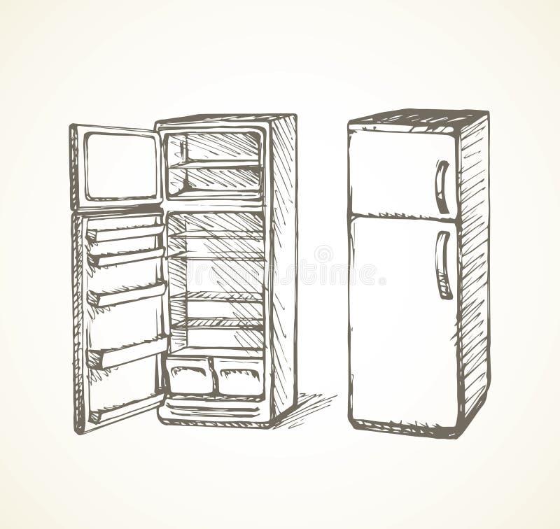 冰箱 得出花卉草向量的背景 向量例证