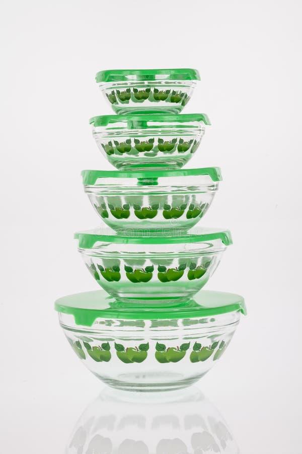 冰箱绿色盖子的容器 免版税库存图片