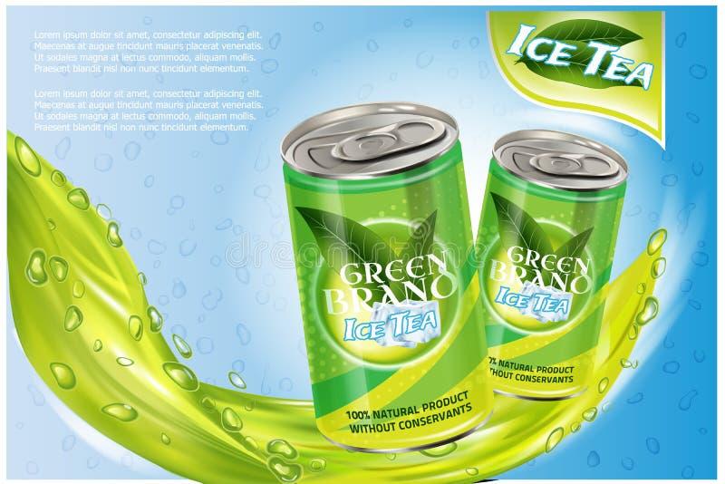 冰茶产品广告 向量3d例证 软饮料铝罐模板设计 绿茶瓶广告 向量例证