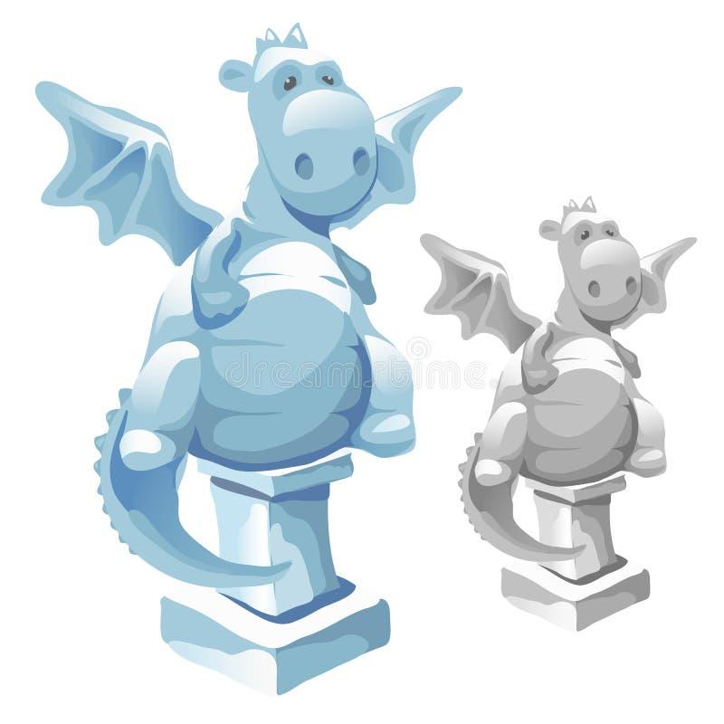 冰逗人喜爱的肥胖龙雕象在动画片样式的 向量例证
