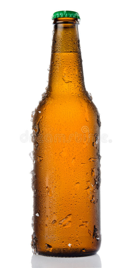 冰镇啤酒瓶 免版税图库摄影