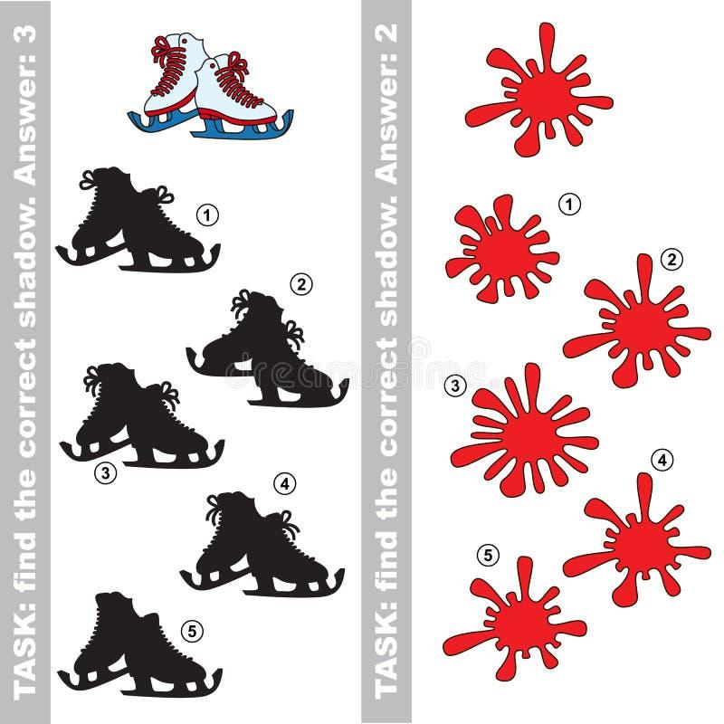 冰鞋和污点 发现真实的正确阴影 库存例证