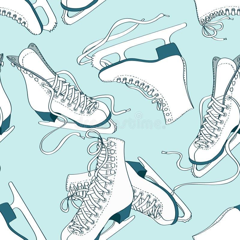 冰鞋的无缝的样式 库存例证