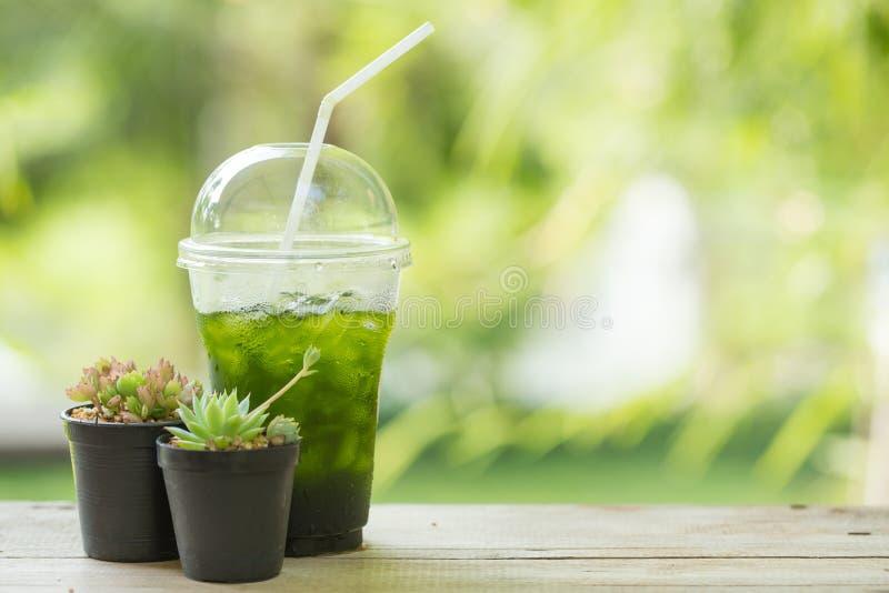 冰绿茶matcha 免版税库存图片