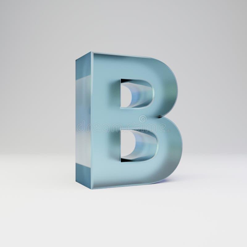 冰3d信件B大写 与光滑的反射的透明冰在白色背景隔绝的字体和阴影 向量例证