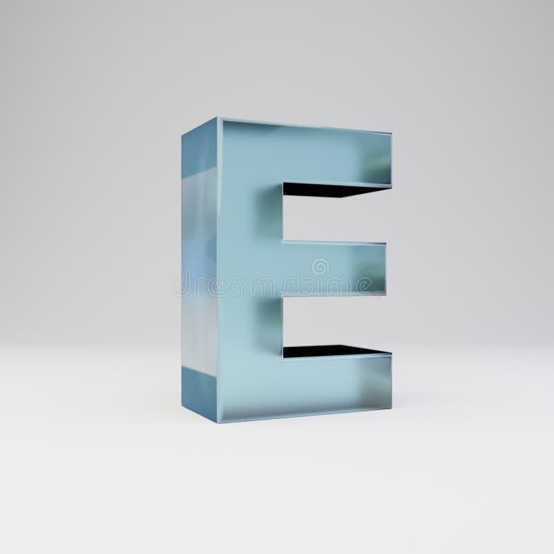冰3d信件E大写 与光滑的反射的透明冰在白色背景隔绝的字体和阴影 向量例证