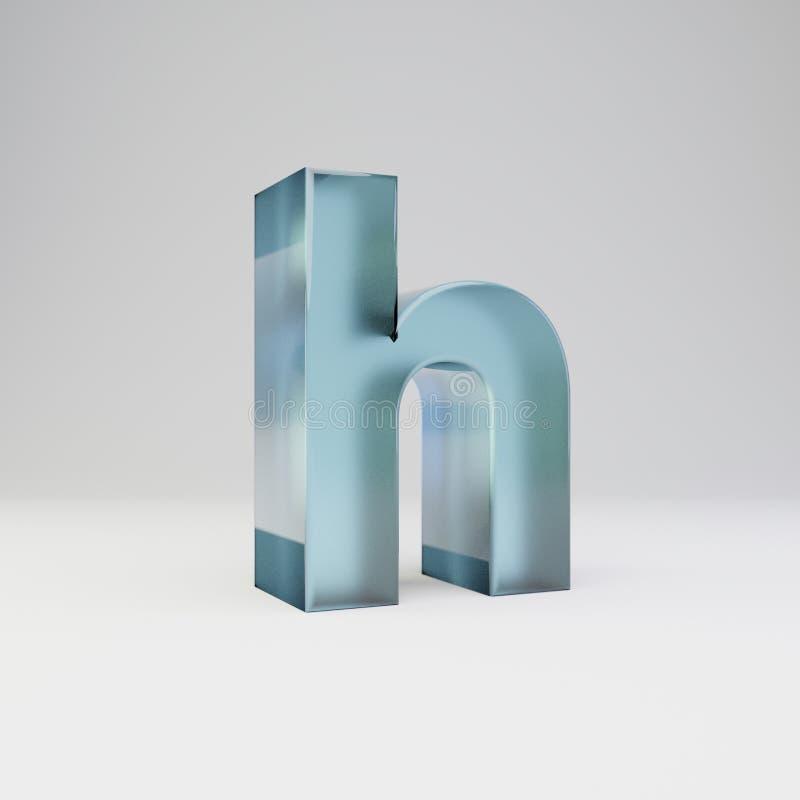 冰3d信件H小写 与光滑的反射的透明冰在白色背景隔绝的字体和阴影 库存图片