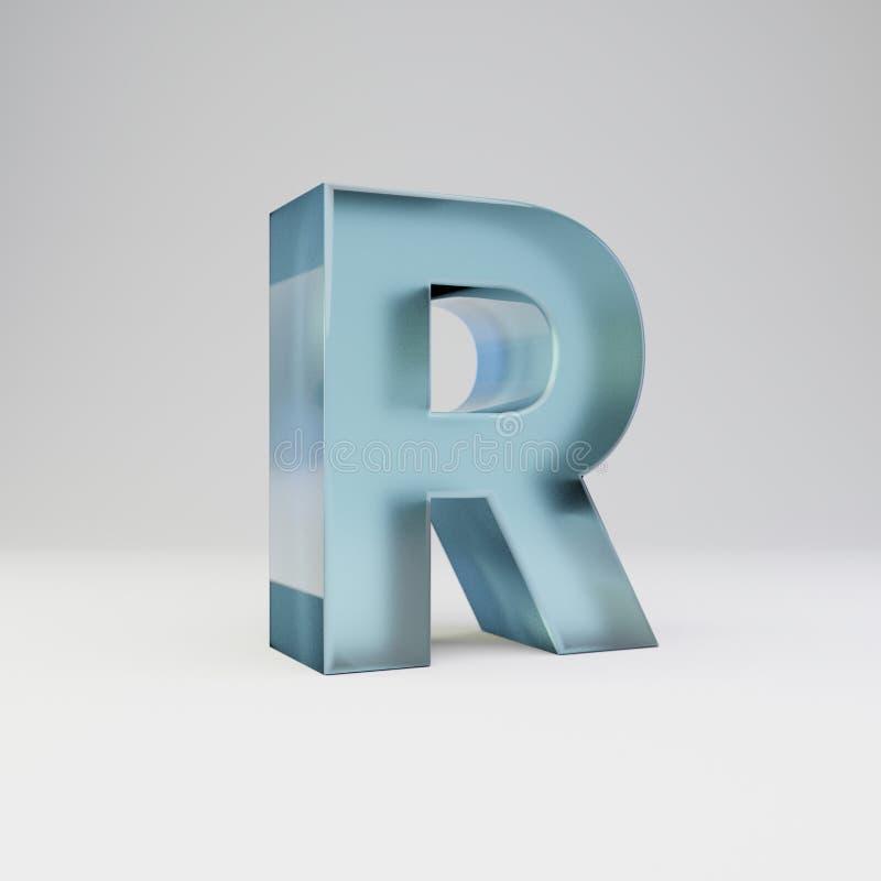 冰3d信件R大写 与光滑的反射的透明冰在白色背景隔绝的字体和阴影 皇族释放例证