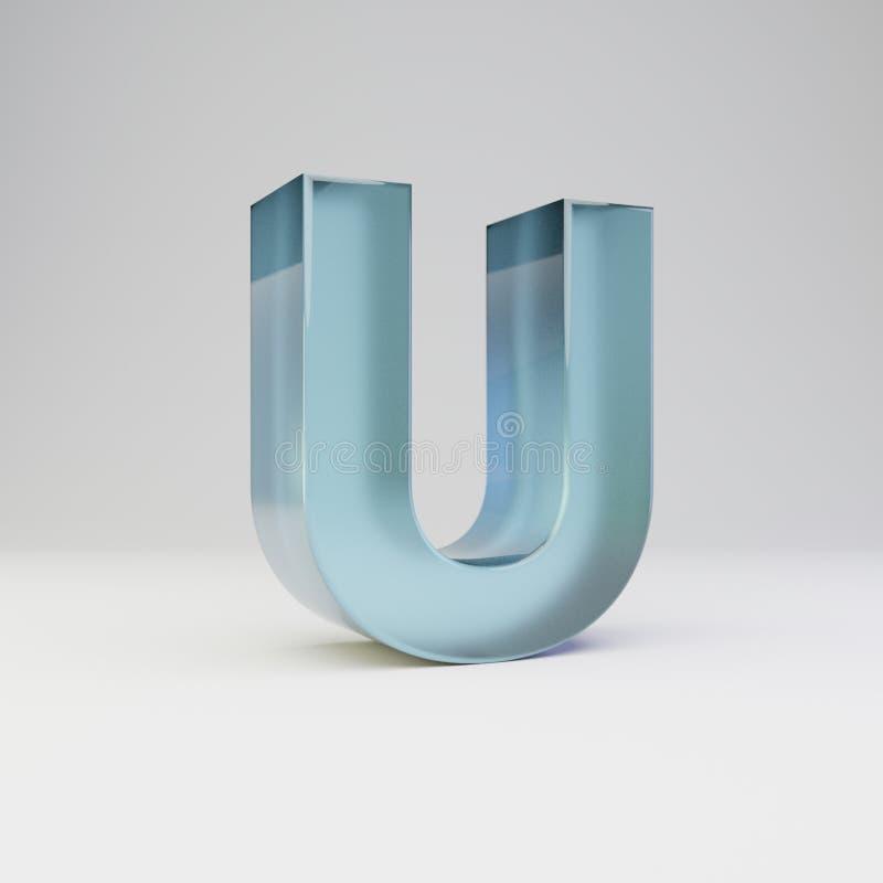 冰3d信件U大写 与光滑的反射的透明冰在白色背景隔绝的字体和阴影 皇族释放例证