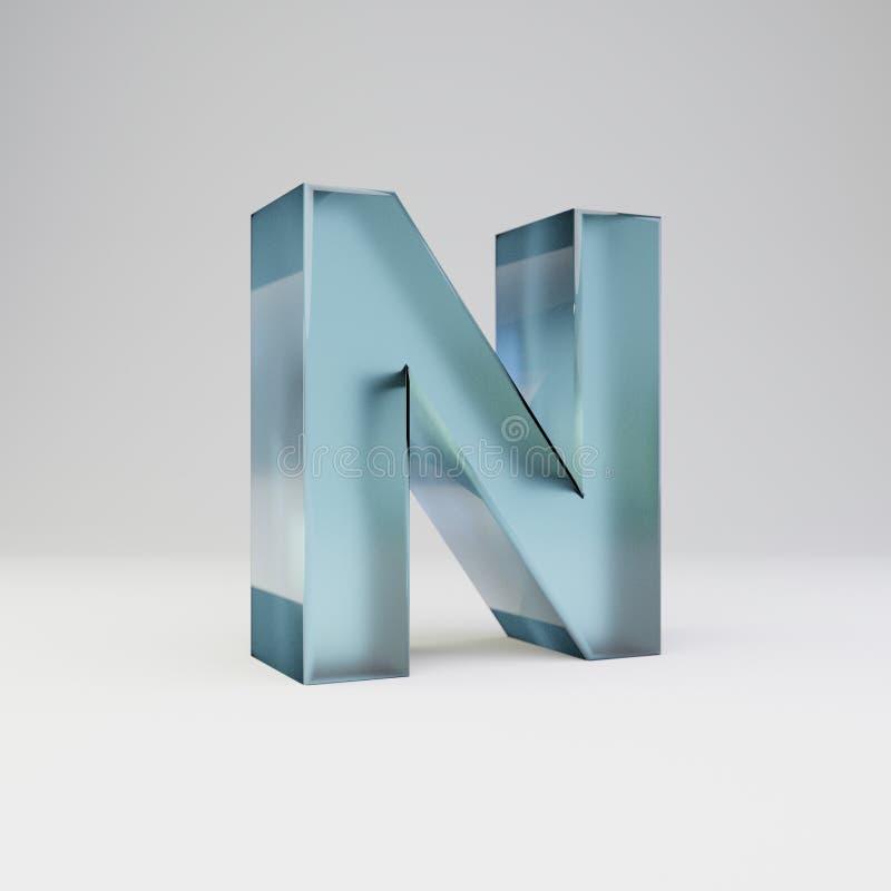 冰3d字母N大写 与光滑的反射的透明冰在白色背景隔绝的字体和阴影 库存例证