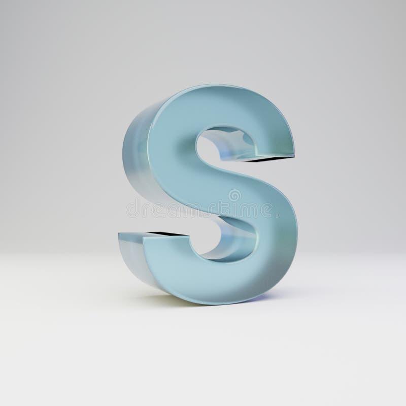 冰3d字母S大写 与光滑的反射的透明冰在白色背景隔绝的字体和阴影 库存例证