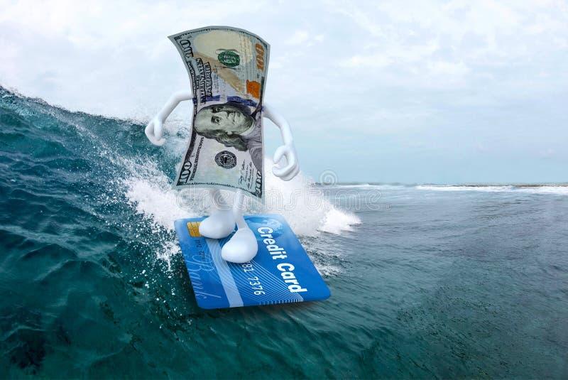 冲浪与信用卡冲浪板的美元 皇族释放例证