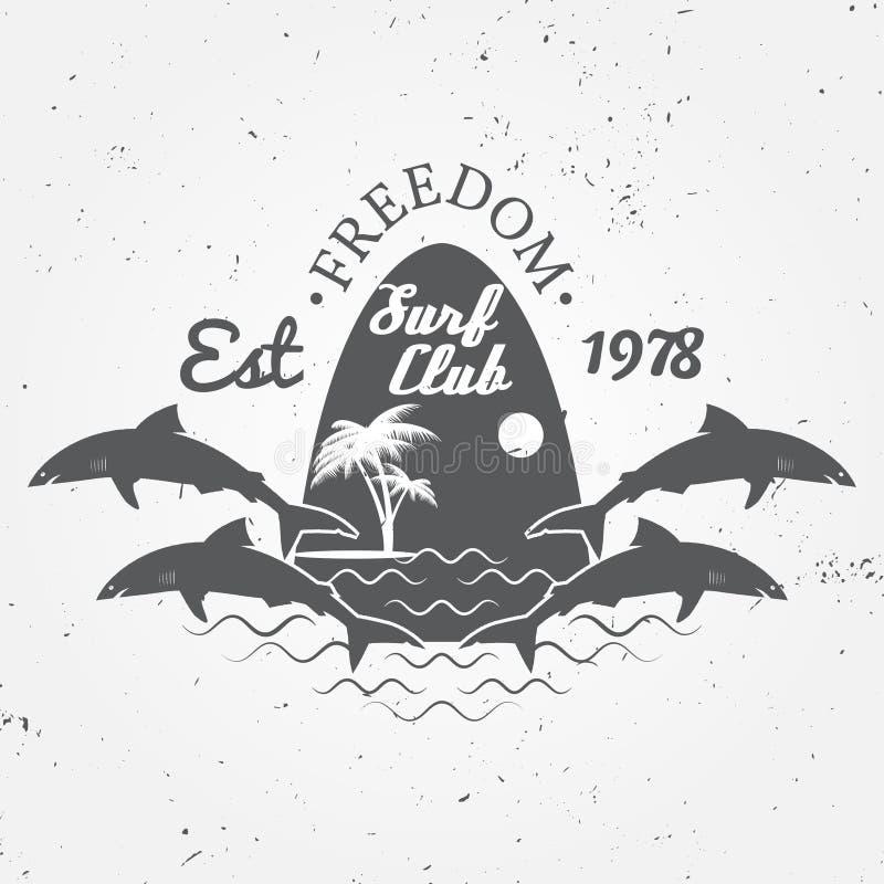 冲浪俱乐部概念冲浪减速火箭的徽章的传染媒介夏天 冲浪者俱乐部象征,户外横幅,葡萄酒背景 鲨鱼海浪俱乐部ico 库存例证