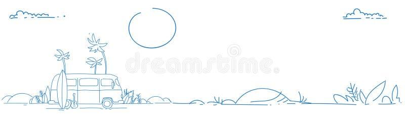 冲浪公共汽车日落热带海滩减速火箭的冲浪的葡萄酒暑假贺卡水平的全景海报剪影 向量例证