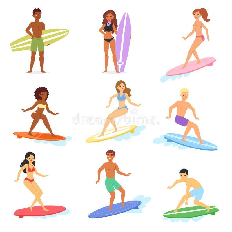 冲浪冲浪在海洋和男人或者女子在冲浪板例证套的冲浪者字符的传染媒介人动画片年轻人 库存例证