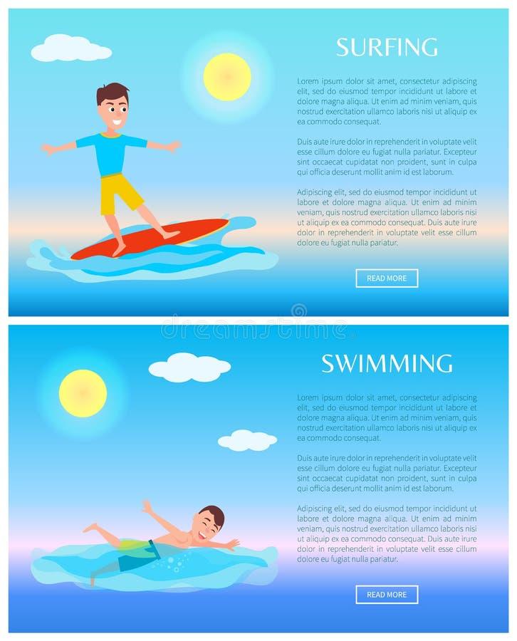 冲浪和游泳,水上运动活动卡片 向量例证