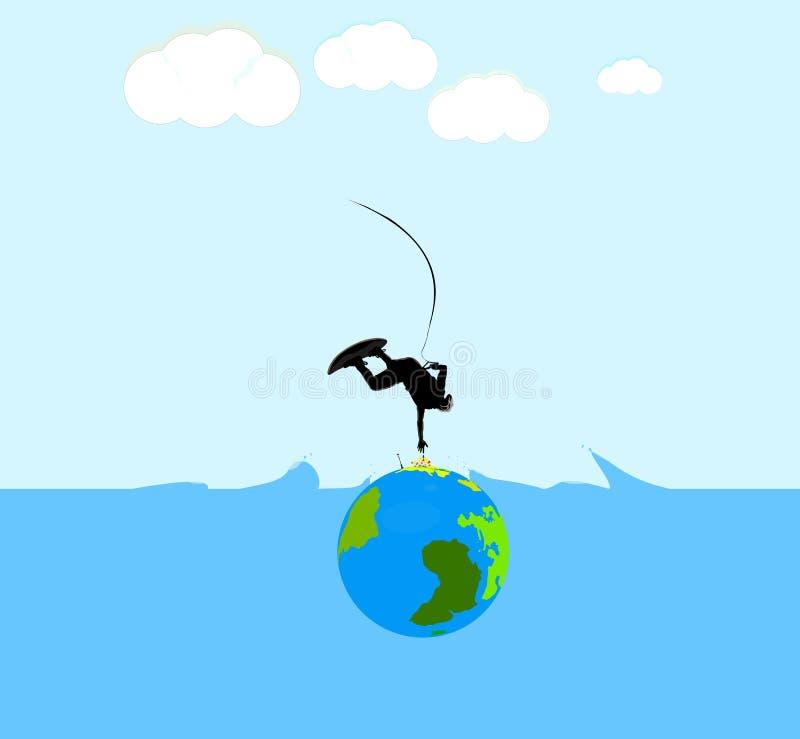 冲浪在与世界微型地球的冲浪板或苏醒baord的冲浪者 库存图片