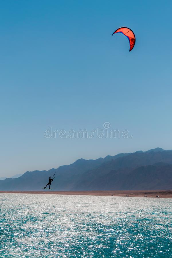 冲浪在宰海卜埃及的风筝 库存照片