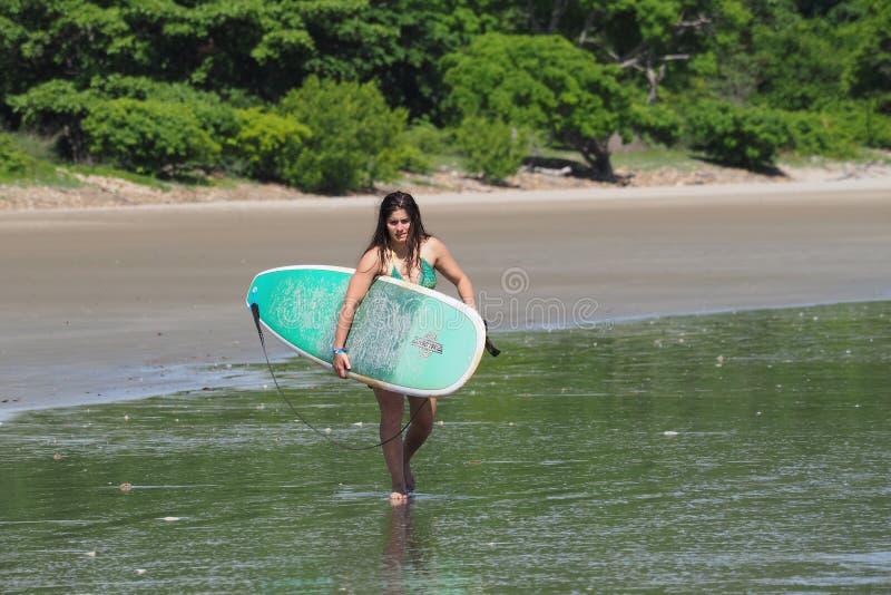 冲浪在尼加拉瓜的年轻女人 库存照片