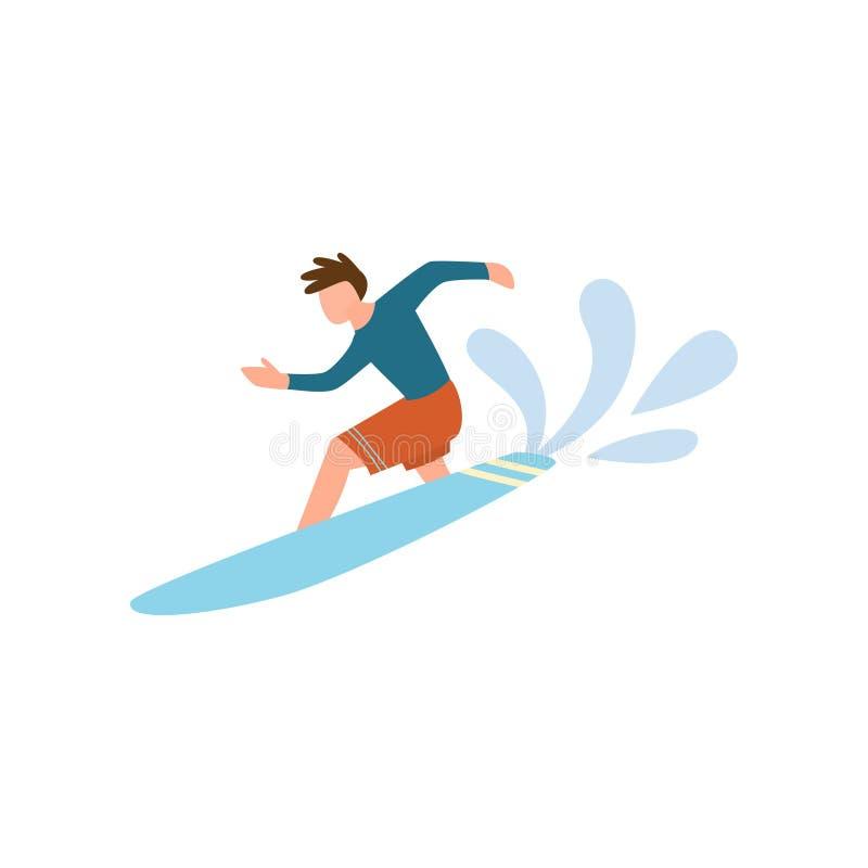 冲浪在海浪的红色短裤的年轻人 向量例证