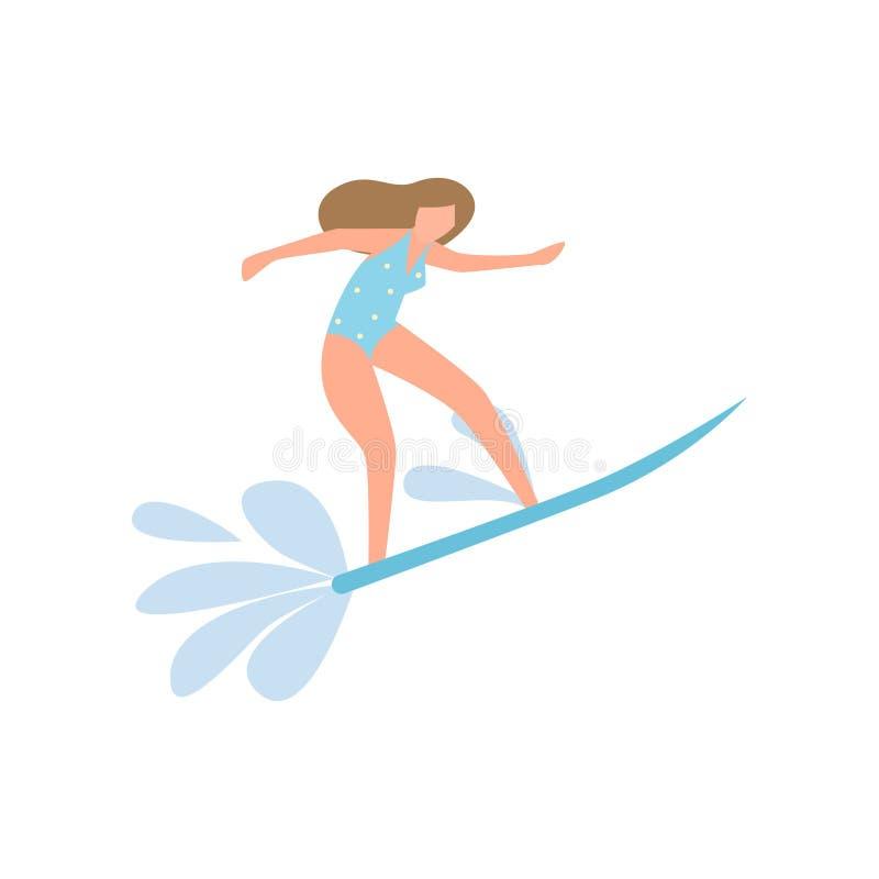 冲浪在海浪的蓝色游泳衣的学生女孩 皇族释放例证