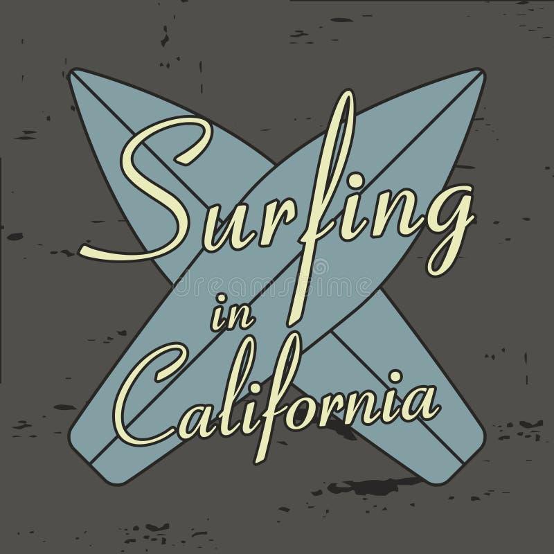 冲浪在设计的加利福尼亚印刷术穿衣, T恤杉,葡萄酒服装 库存例证