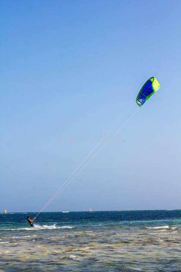 冲浪在Watamu的风筝 库存照片