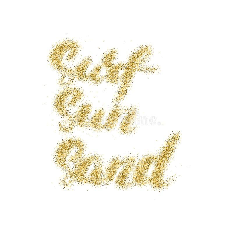 冲浪太阳沙子-与金黄含沙纹理的手工制造现代书法 向量例证
