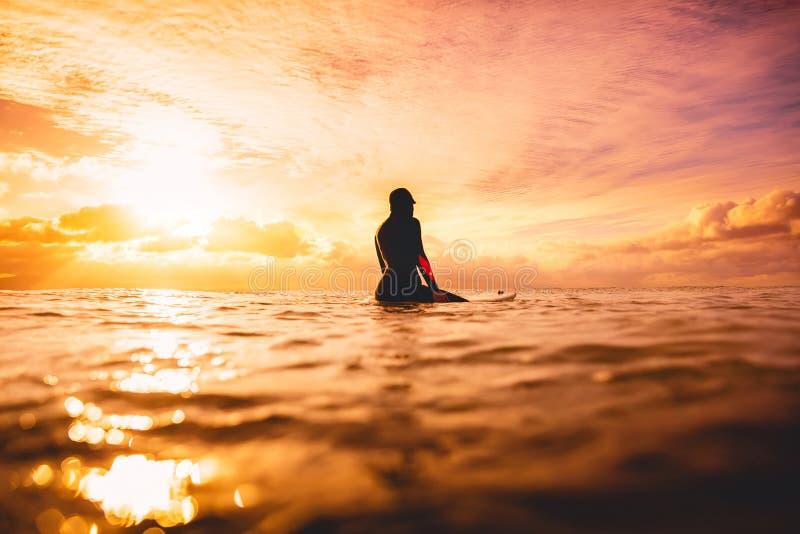 冲浪女孩在海洋在日落或日出 冲浪在海洋的冬天 免版税库存照片