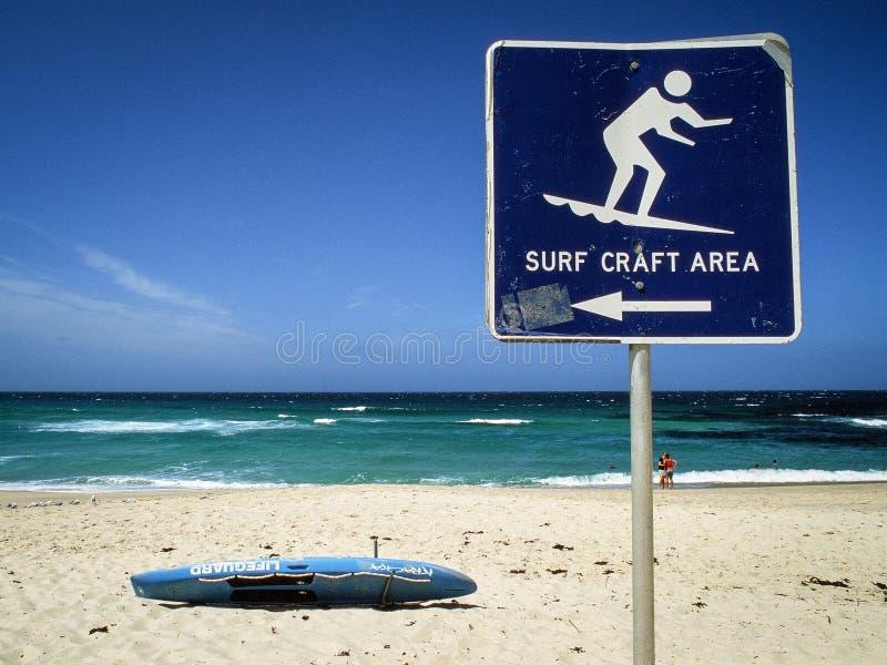 冲浪工艺在Bronte海滩,澳大利亚的区域标志 免版税库存图片