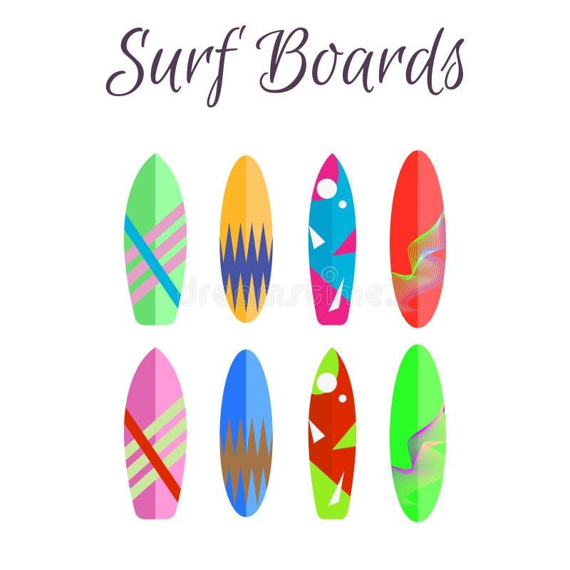 冲浪板传染媒介五颜六色的集合 水橇板夏天水上运动 皇族释放例证