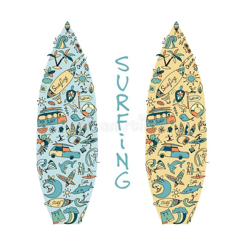 冲浪板剪影,由海浪象做的设计被设置 皇族释放例证