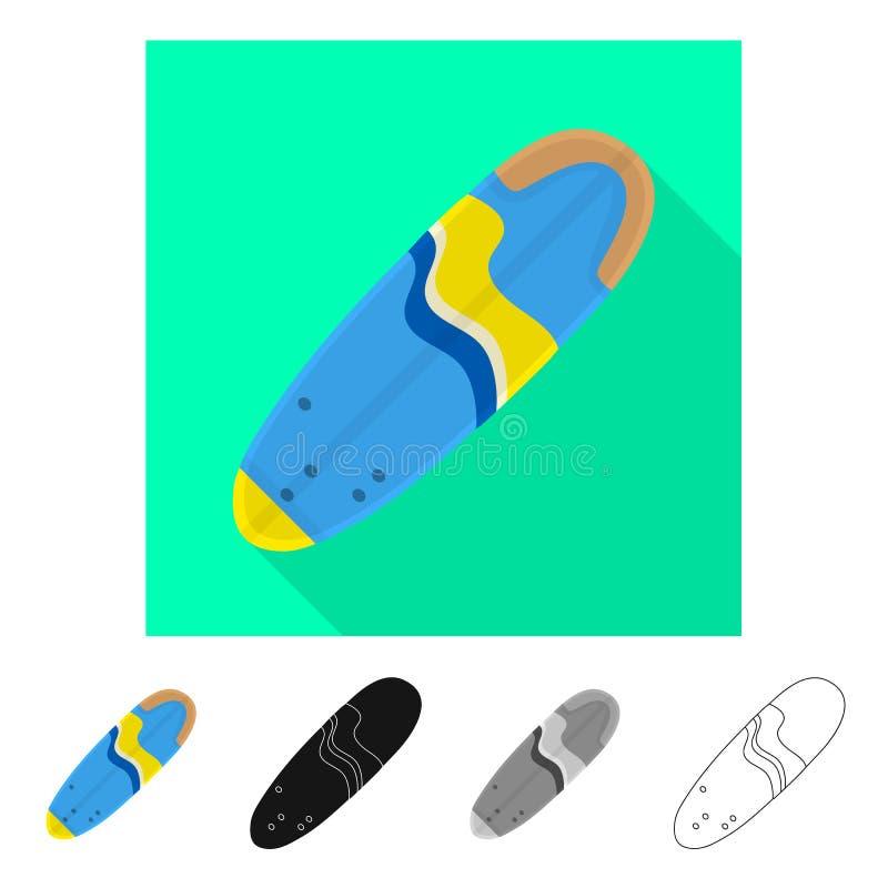 冲浪板和海浪标志被隔绝的对象  设置冲浪板和夏天股票简名网的 皇族释放例证