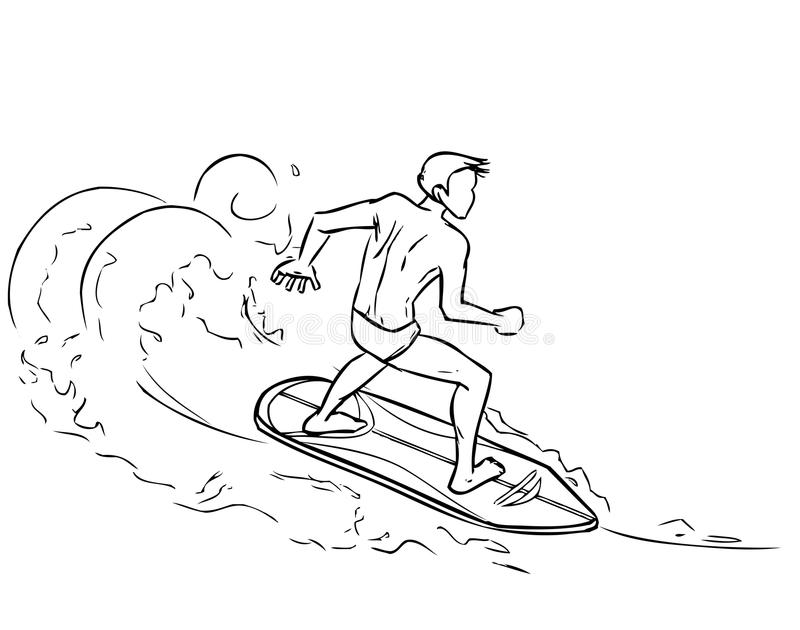 冲浪板的冲浪的人在海波浪 向量例证