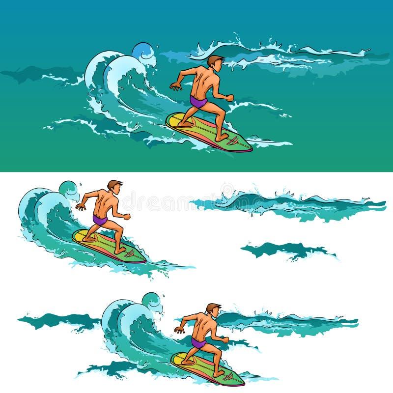 冲浪板的冲浪的人在海波浪 库存例证