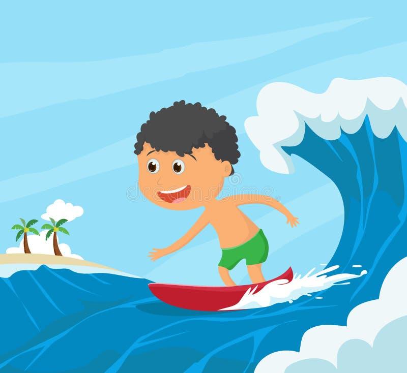 冲浪由海滩的愉快的小男孩冲浪者 向量例证