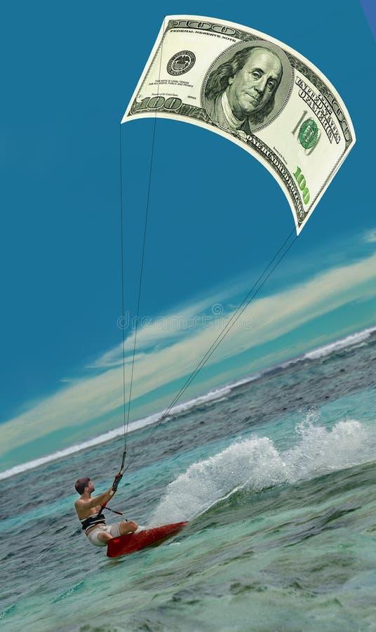 冲浪的人&美国美元风筝,风帆,  免版税库存图片