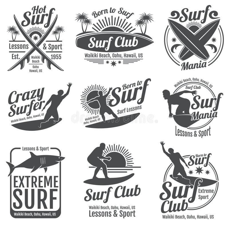 冲浪的俱乐部传染媒介葡萄酒象征 在波浪标志的水橇板 向量例证