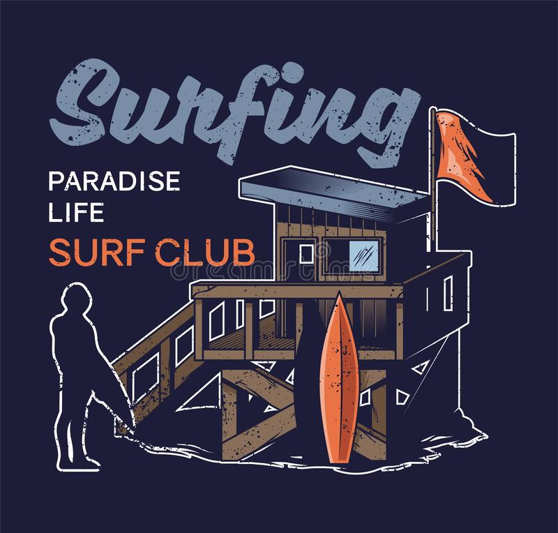 冲浪的俱乐部海滩木屋  库存例证
