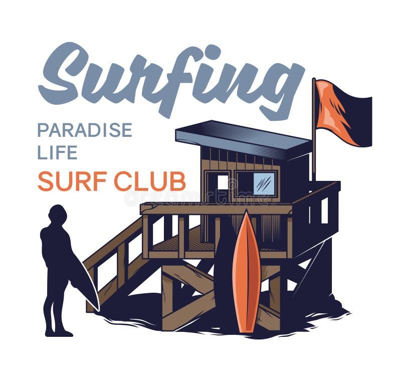 冲浪的俱乐部海滩木屋  皇族释放例证